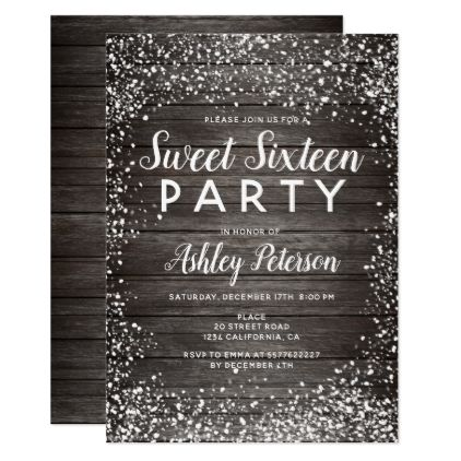 Rustic Snow Brown Wood Winter Sweet 16 Invitation Zazzle Com Sweet 16 Invitations Sweet 16 Winter Sweet 16 Birthday Party