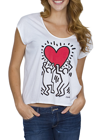 01a35eb1dec Keith Haring Holding Heart Scoop Tank $32.00 www.junkfoodclothing.com