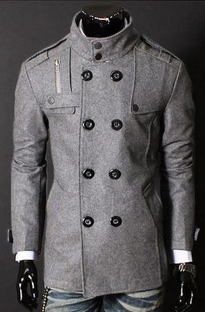 On Sale Modern Gray Cotton Blend Men's Pea Coat- PerfectPeaCoat ...