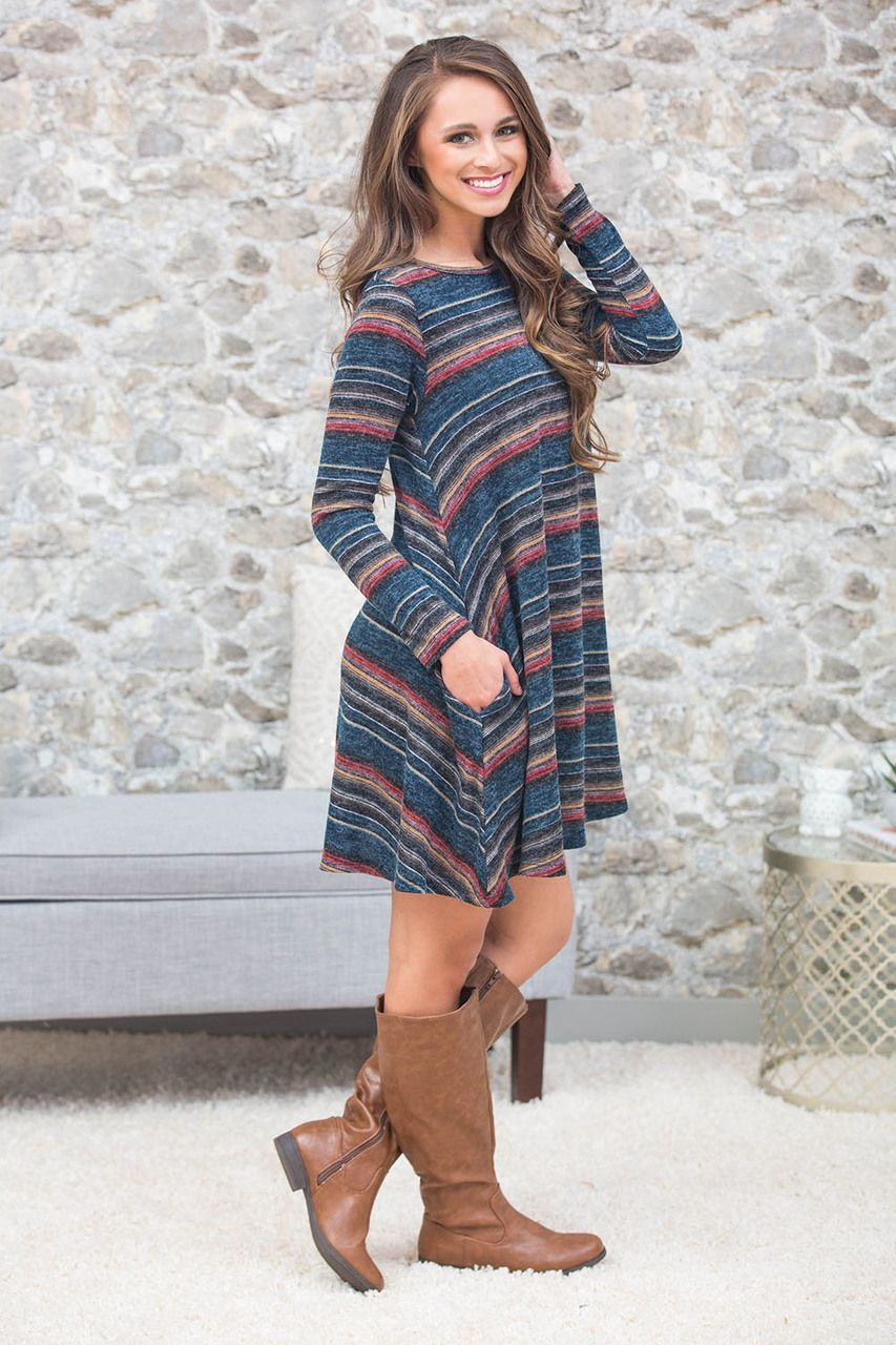 Into The Setting Sun Striped Dress Curvy - The Pink Lily