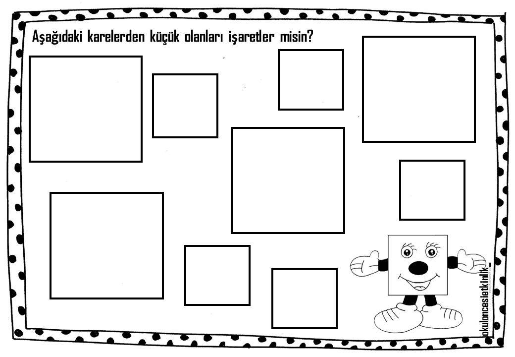 Okul Oncesi Kare Sekli Calisma Sayfasi Geometri Cocuklar Icin