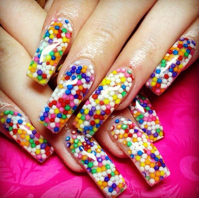 Multi coloured acrylic nails | Nail art, Acrylic nails, Nails