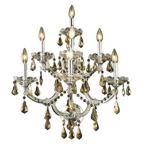 Maria Theresa Chrome Seven-Light 22-Inch Wall Sconce with Royal Cut Golden Teak Smoky Crystal
