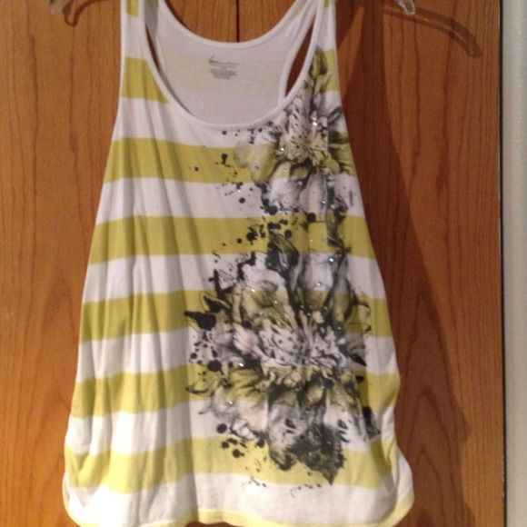 Fun tank Lime stripped tank with black flower pattern Lane Bryant Tops Tank Tops
