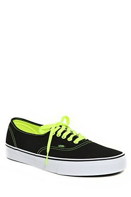 fa418201f0 Black and Neon Green Vans