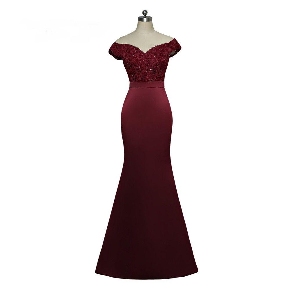 Burgundy Mermaid Sweetheart Cap Sleeves Beaded Long Bridesmaid Dress in  Bridesmaid dresses Free worldwide shipping! 572bd183873b