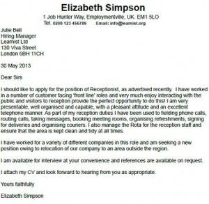 Receptionist Cover Letter Example  HttpWwwResumecareerInfo