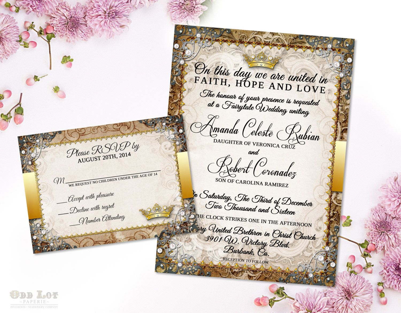 Fairytale wedding invitation suite romantic wedding invitation fairytale wedding invitation suite romantic wedding invitation monicamarmolfo Images