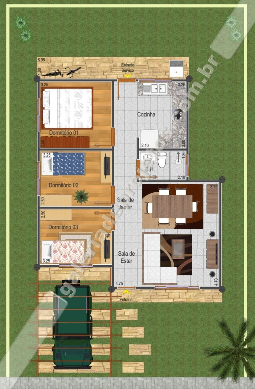 Fabuloso Cód.018 - Projeto Casa Térrea - 3 Quartos - Galeria de Projetos  ZQ04