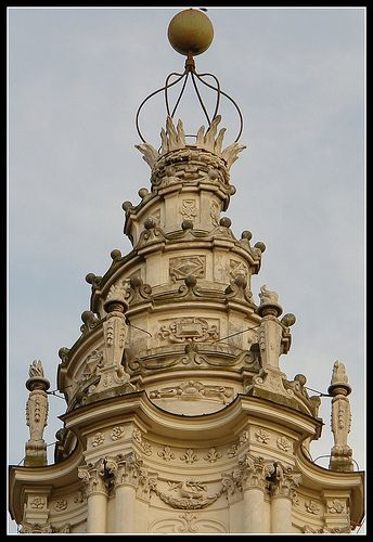Borromini's highly decorated corkscrew lantern at the top of Saint Yves at La Sapienza church in Rome.