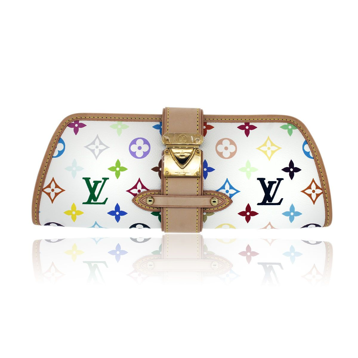 dde0b70b3a4f Authentic Louis Vuitton White Multicolor Murakami Shirley Clutch ...