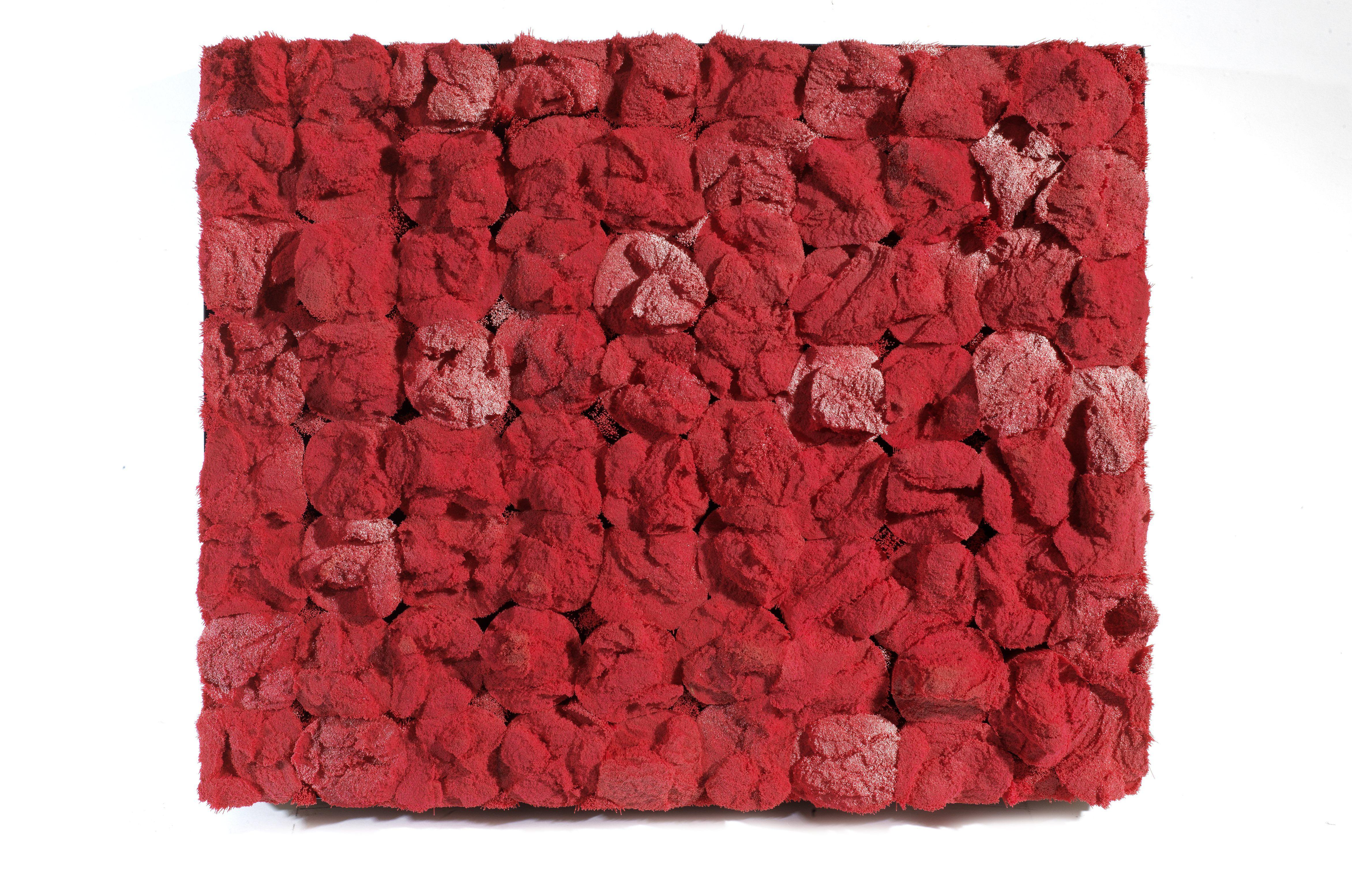 Francesca Pasquali, Setole, 2012, poils de balai en plastique rouge sur panneau en bois et cadre métallique, Courtesy Tornabuoni Art