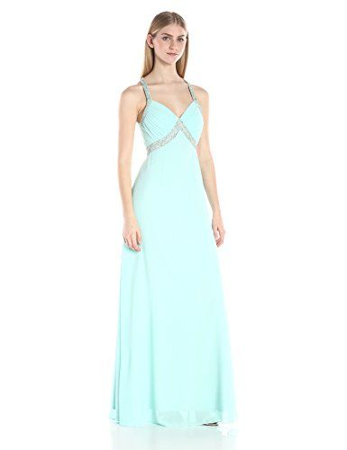 Minuet Women's Sequin Detail Ruche Top Long Gown, Mint, Medium. Beading. Long gown. Fitted. Fully lined.