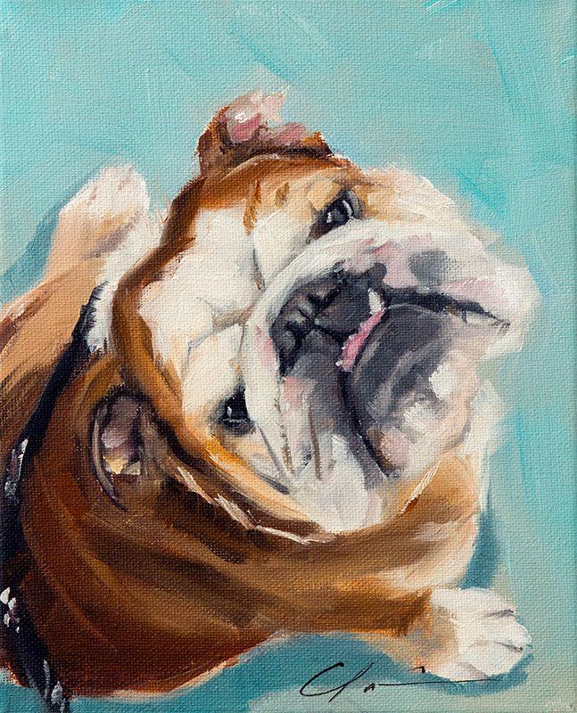 Paint My Dog Jersey Hundar Bulldogg Portratt
