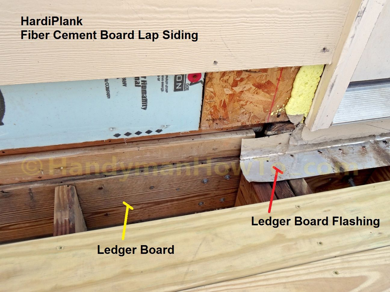 Note the red arrow pointing to a nail used to tack the ledger board flashing to : door ledger - pezcame.com
