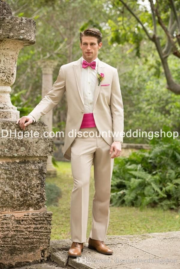 145 $ Groom Tuxedos One Button Beige Groomsmen Peak Lapel Best Man ...