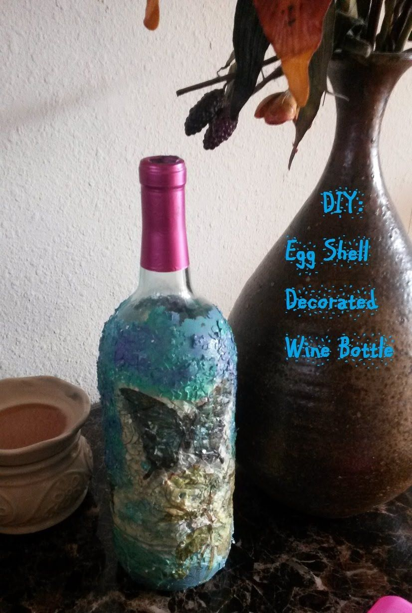 DIY Egg Shell Decorated Wine Bottle YouTube Bottle