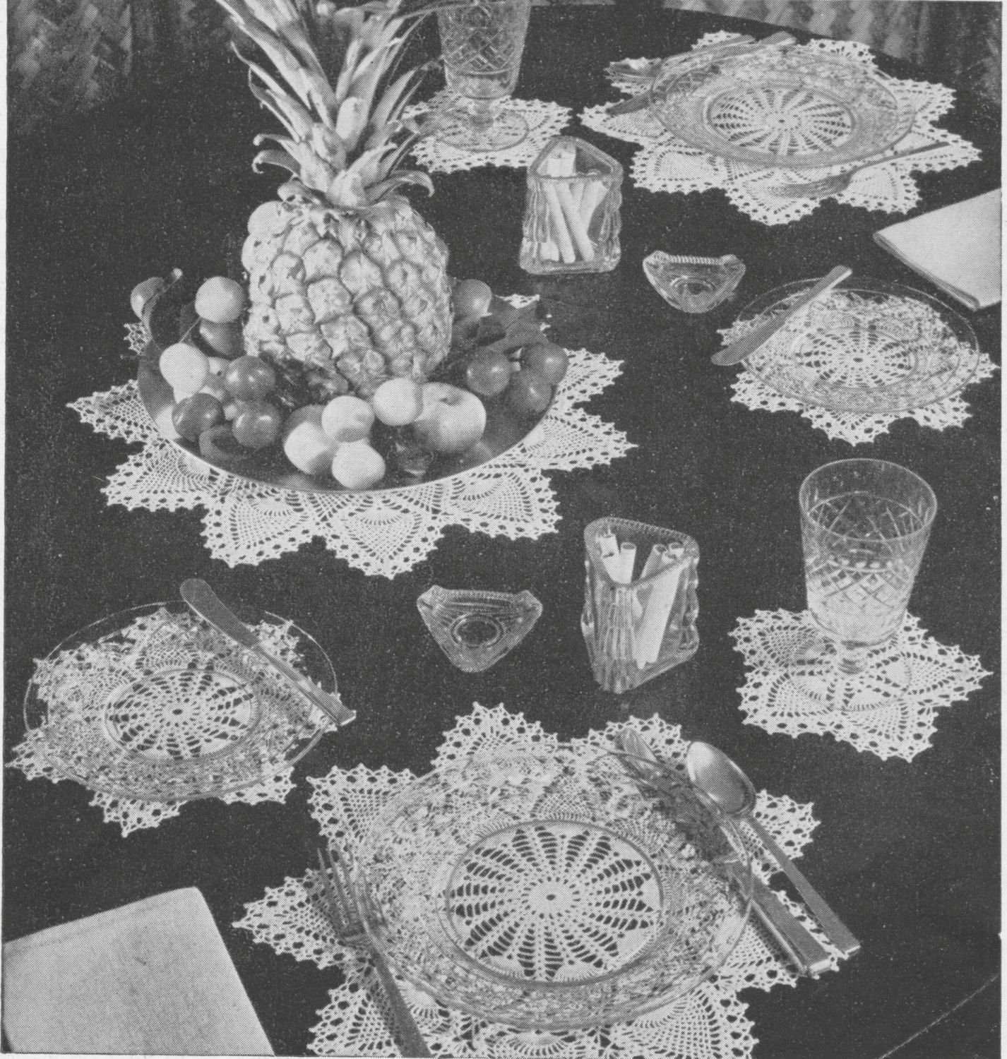 402 Vintage 1940\'s Pineapple Luncheon Set Crochet Pattern, Doily Set ...