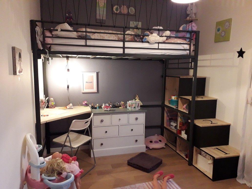 bureau sous lit mezzanine diy lit