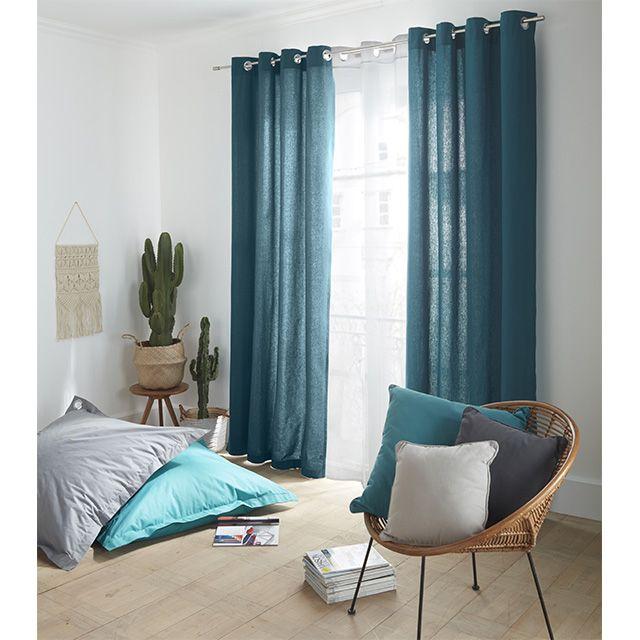 paire de rideaux zen bleu paon 140 x