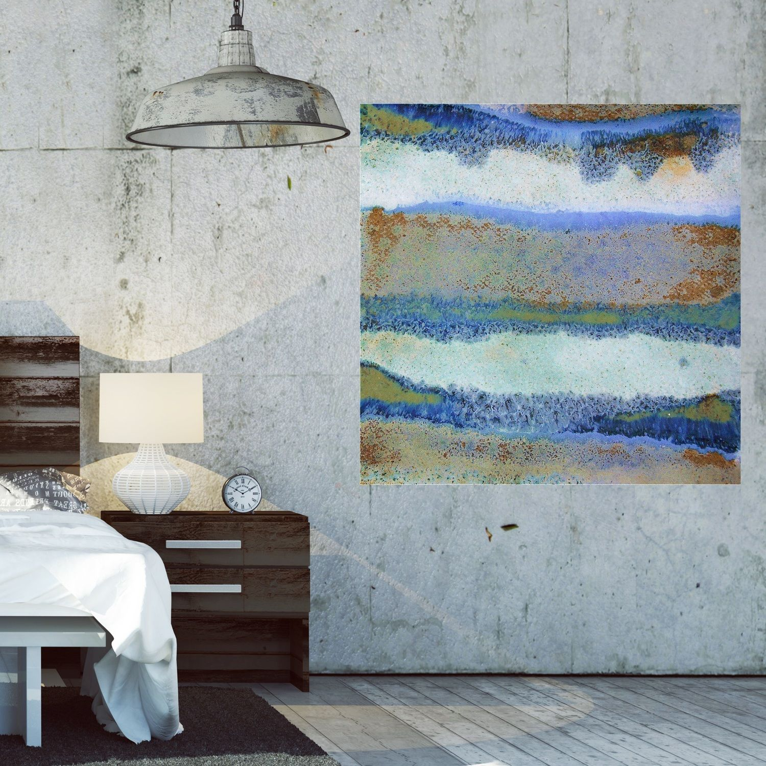 How to make your industrial loft beautiful with oversized artwork in
