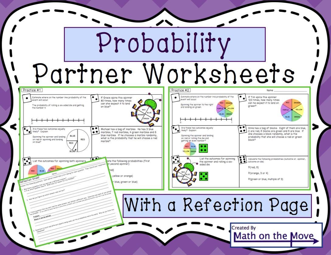 Probability Partner Practice Students Work In Pairs On Two Separate Worksheets With Equivalent Answers Th Math Worksheets Probability Math Math Instruction