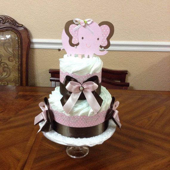 Elegant Diaper Cake Pink and Brown/ 2 Tier Elephant Diaper