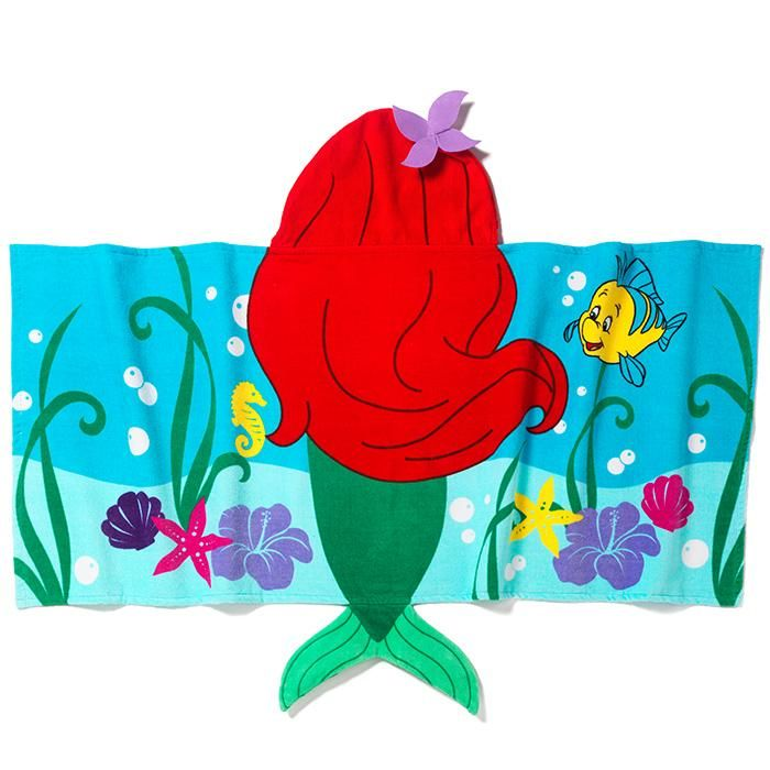 """Get in character!Acute and fluffy hooded towel perfect for after baths, at the beach or at the pool.FEATURES• Two shades of blue towel with ocean print• Hood is red with a purple flower on it• Hood is printed to appear like Ariel's hair, and it extends down back of towel• Green mermaid tail at bottom of towel• Sebastian also printed on towel•23"""" x 51"""" MATERIALS•100% Cotton terryCARE•Machine wash and dry ©Disne..."""