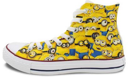 ec602a17adb Custom Converse Minions Painted Shoes All Star High Top Unique C ...