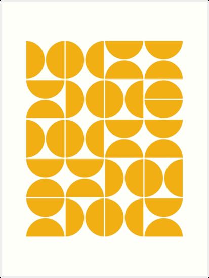 Mid Century Modern Geometric 04 Yellow Art Print By Theoldartstudio Geometric Graphic Design Yellow Art Print Graphic Design Pattern