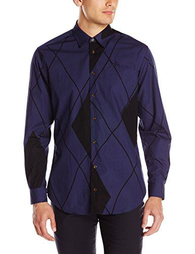 Vivienne Westwood Men's Printed Argyle Cut Away 002S Shirt
