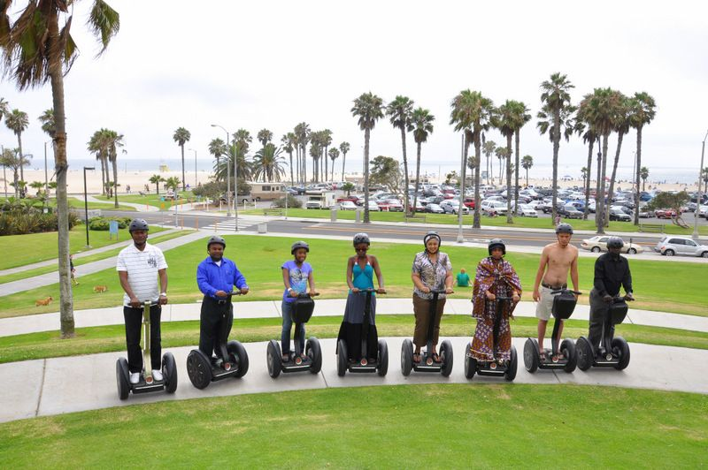 Our Elite Adventure Tours Group Is Ready For A Real Today Segway Tour Along The Beach Venice And Santa Monica Beaches Have Beautiful Paved