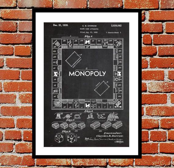 Monopoly Print, Monopoly Poster, Monopoly Patent, Monopoly Art ...
