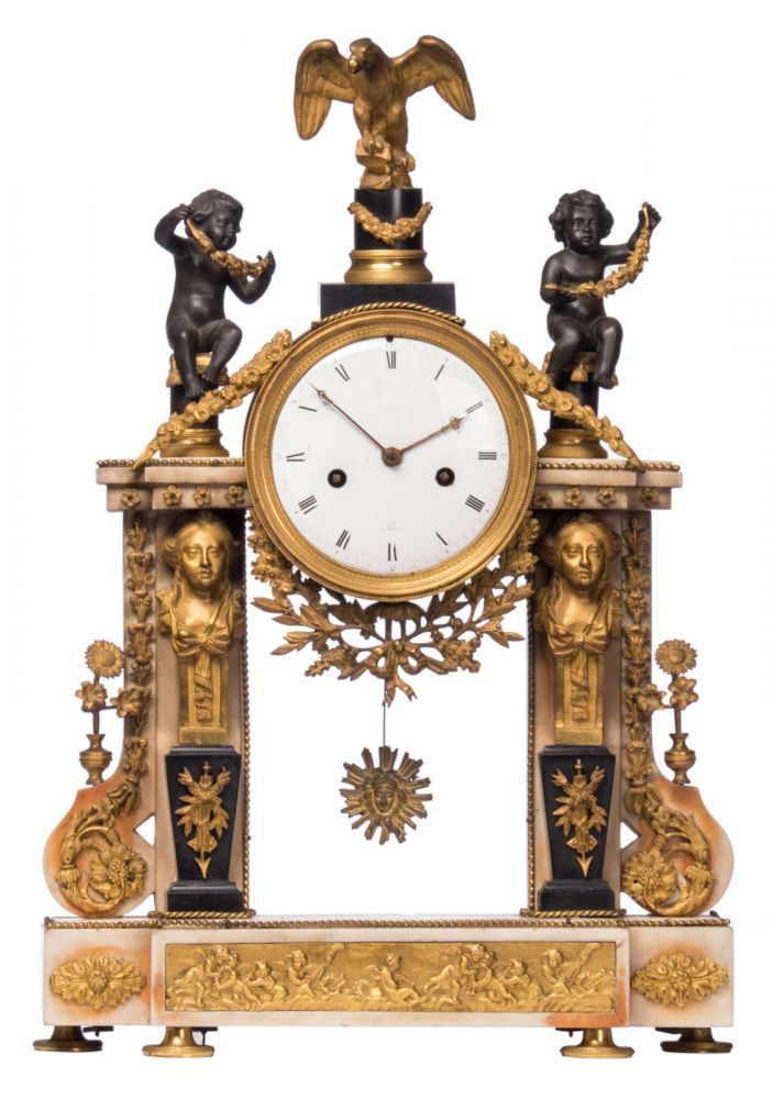 a second half of the 19thc french mantel clock white and rane marble with gilt - Mantel Der Ideen Mit Uhr Verziert