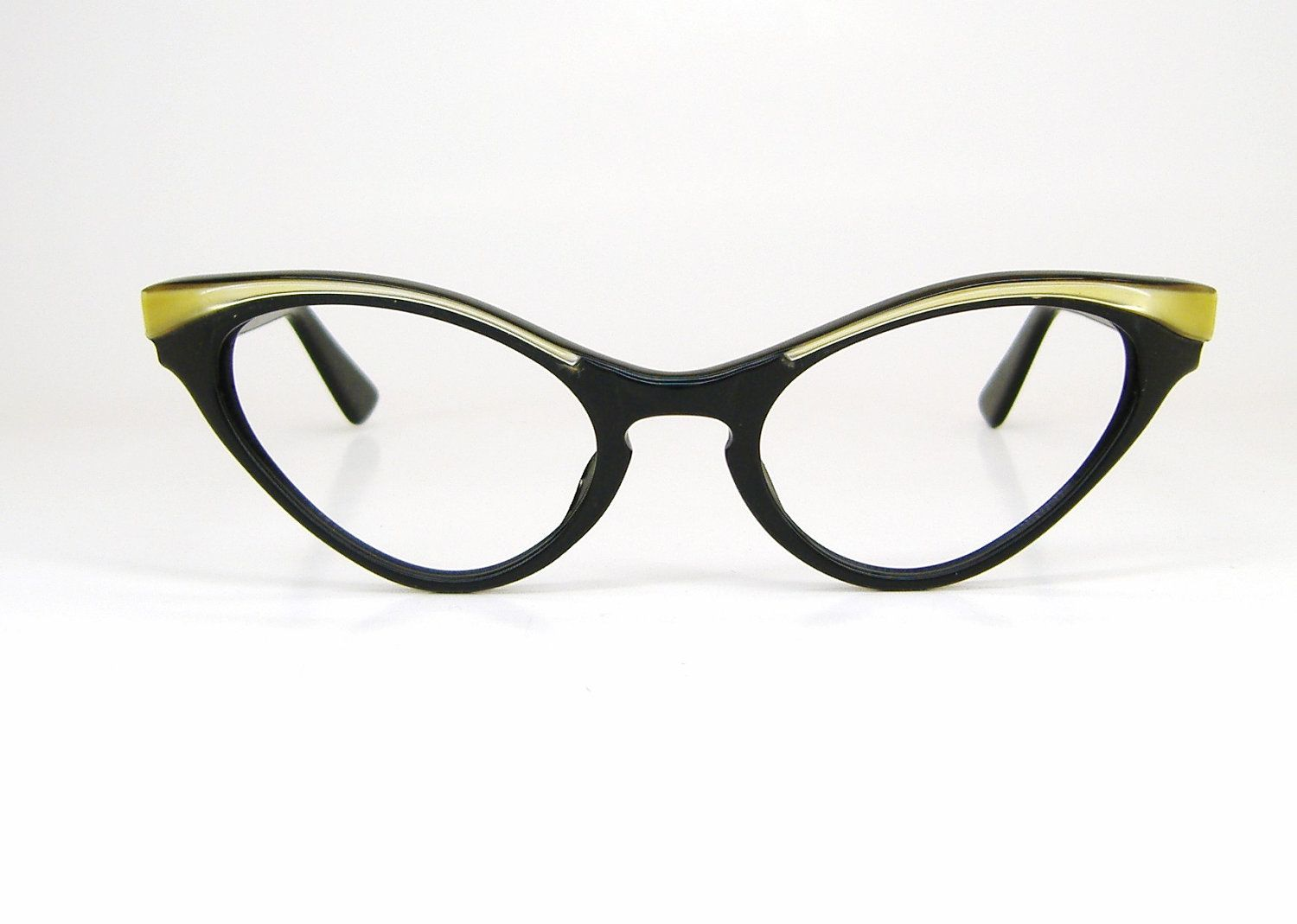 Vintage 50s Cat Eye Eyeglasses or Sunglasses Winged Black and Gold ...