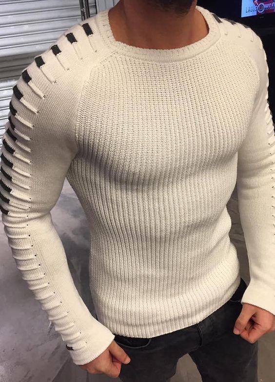 Modagen.com   Erkek Giyim, Erkeklere Özel Alışveriş Sitesi ~ Beyaz Kol Detayli Erkek Kazak