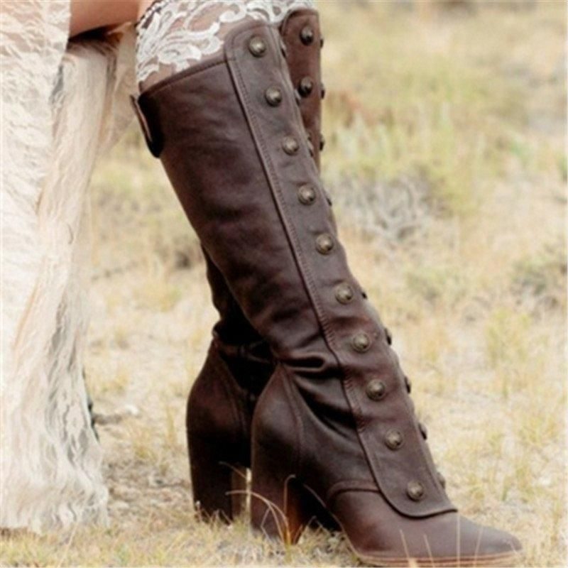 Ellafancy Medieval Women Vintage Double-Breasted Mid-Calf Boots 9