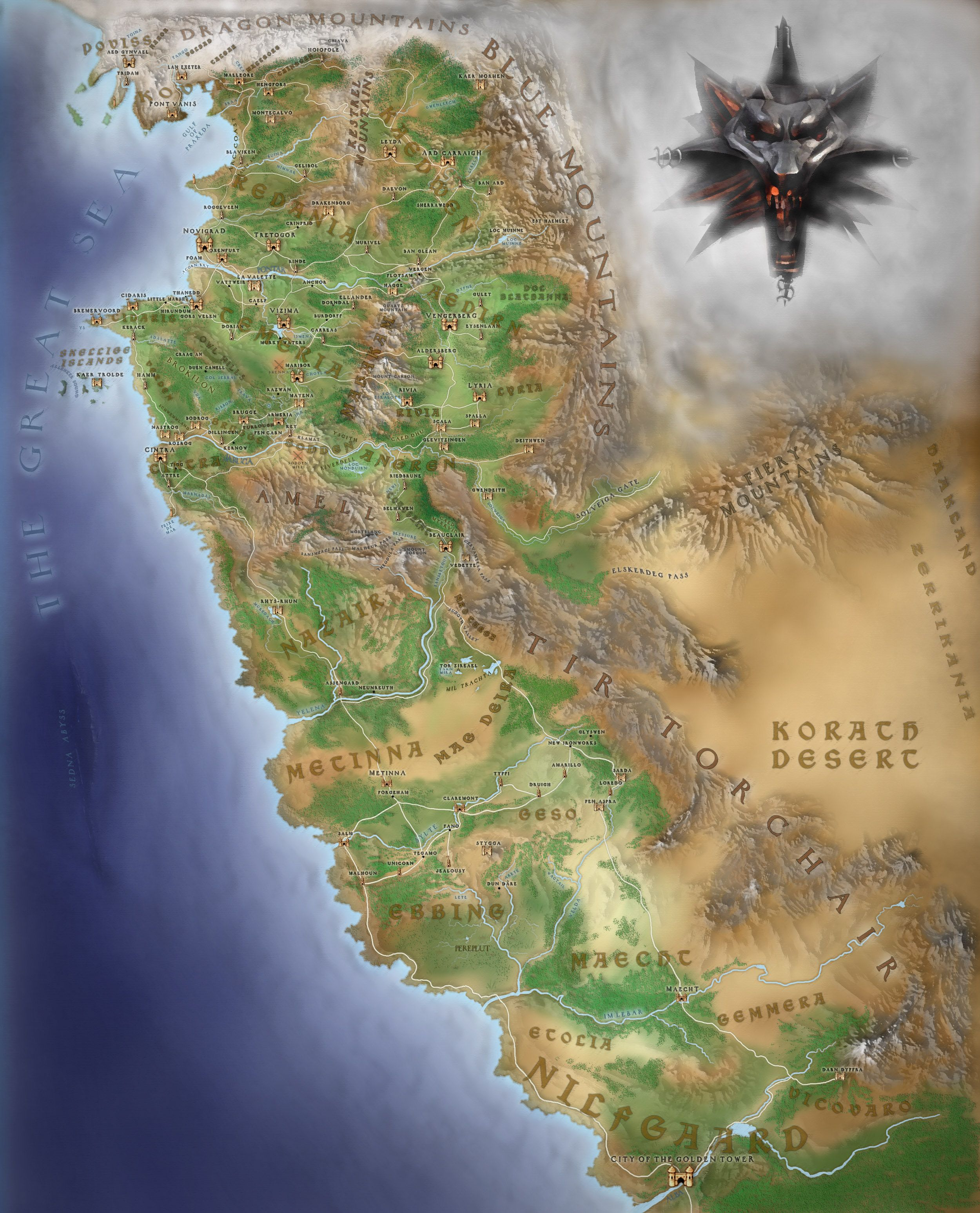 「the witcher continent map」的圖片搜尋結果