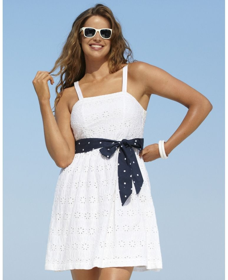 Want This Dress With A Short Sleeve Red Cardi For The 4th Beach To