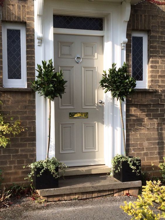white front doorFarrow and Ball Hardwick White front door  Entries to Envy