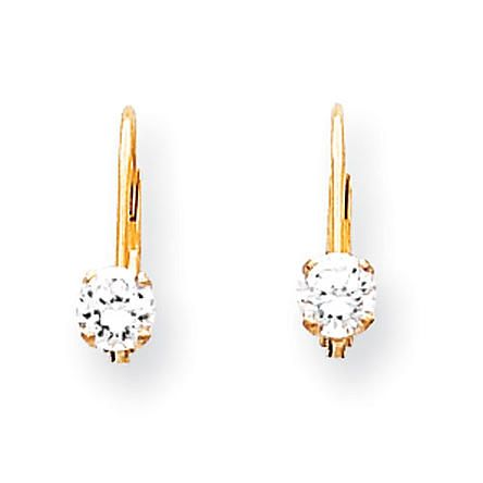goldia 14k Yellow Gold 4mm Cubic Zirconia Leverback Earrings