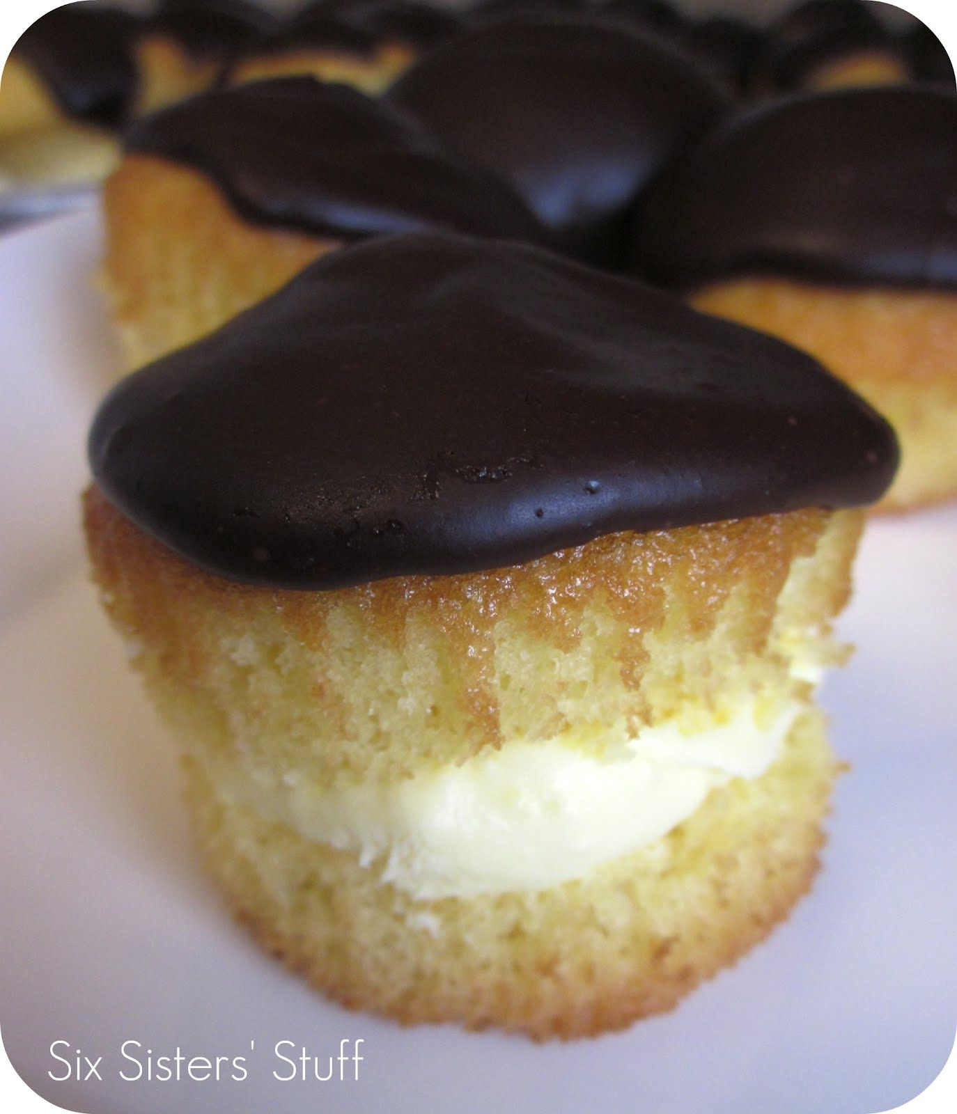 Boston Cream Pie Cupcakes.  They are so easy to make and so delicious!