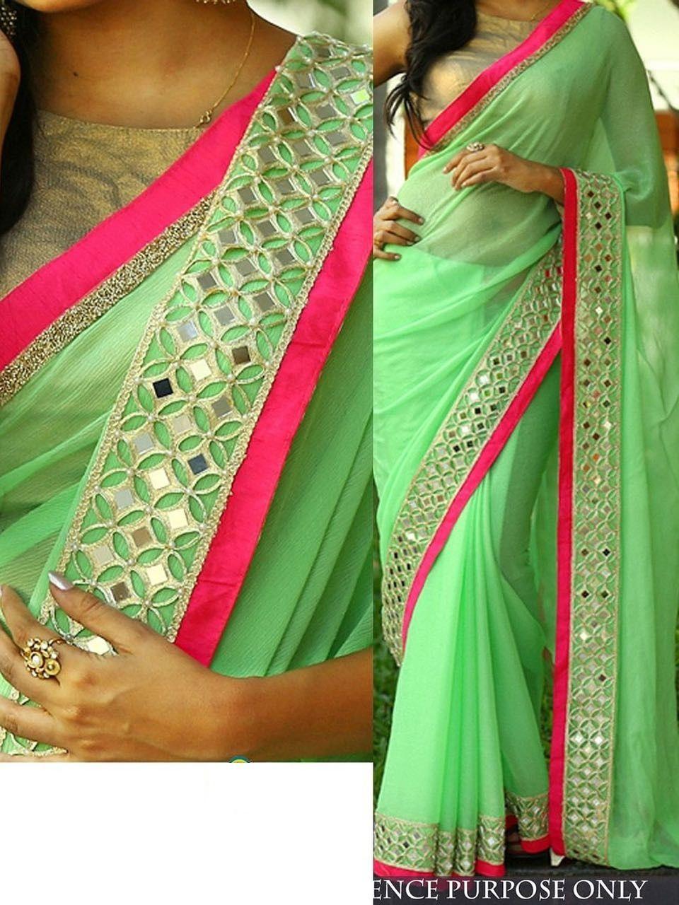 24c3a99bd6d9f7 Shop Pista green color Nylon georgette designer party wear saree online at…