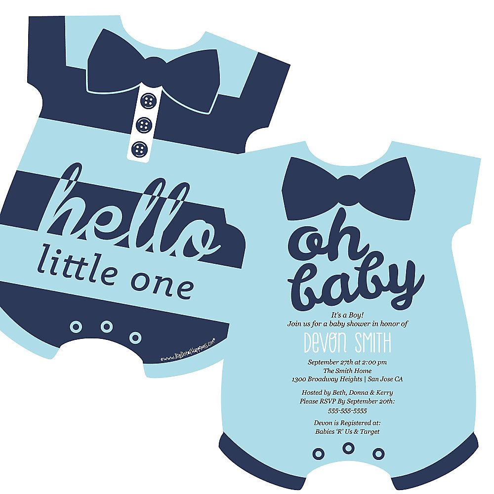 Hello Little One Boy Onsie Shaped Baby Shower Invitations