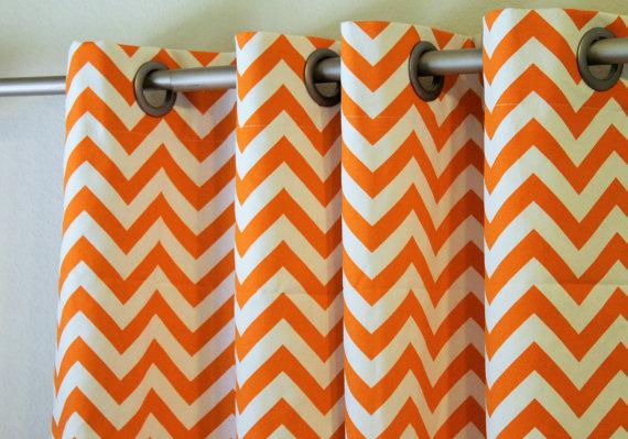 Pair Of 25 Quot Wide Orange And White Chevron Zigzag Curtains Panels Drapes Curtains 25x63 25x84 25x96 25x108 Quot Ro Curtains Curtains Pair Chevron Curtains