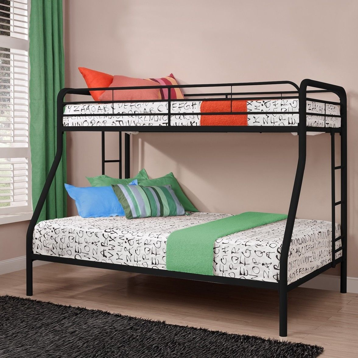 Twin Over Full Size Bunk Bed In Sturdy Black Metal Metal Bunk