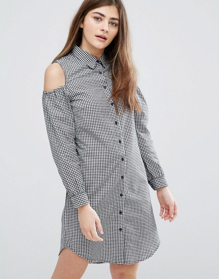 a7cae2f5dd26b New Look Gingham Cold Shoulder Shirt Dress