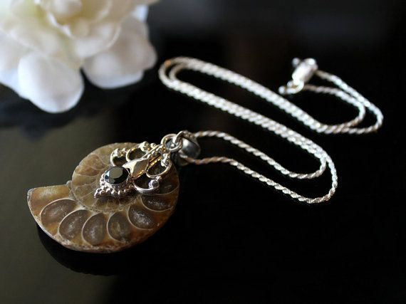 Amonite Fossil Silver Pendant Necklace 925 Sterling by ByGerene