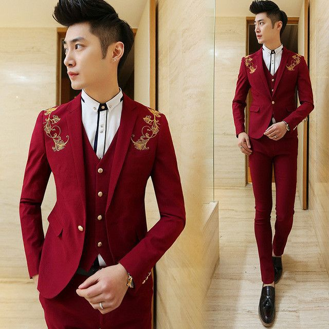 7005e308d284 free shipping 2016new Korean Mens casual suit Slim fit boys prom suits  3-piece royal blue mens suit wedding red tuxedo jacket