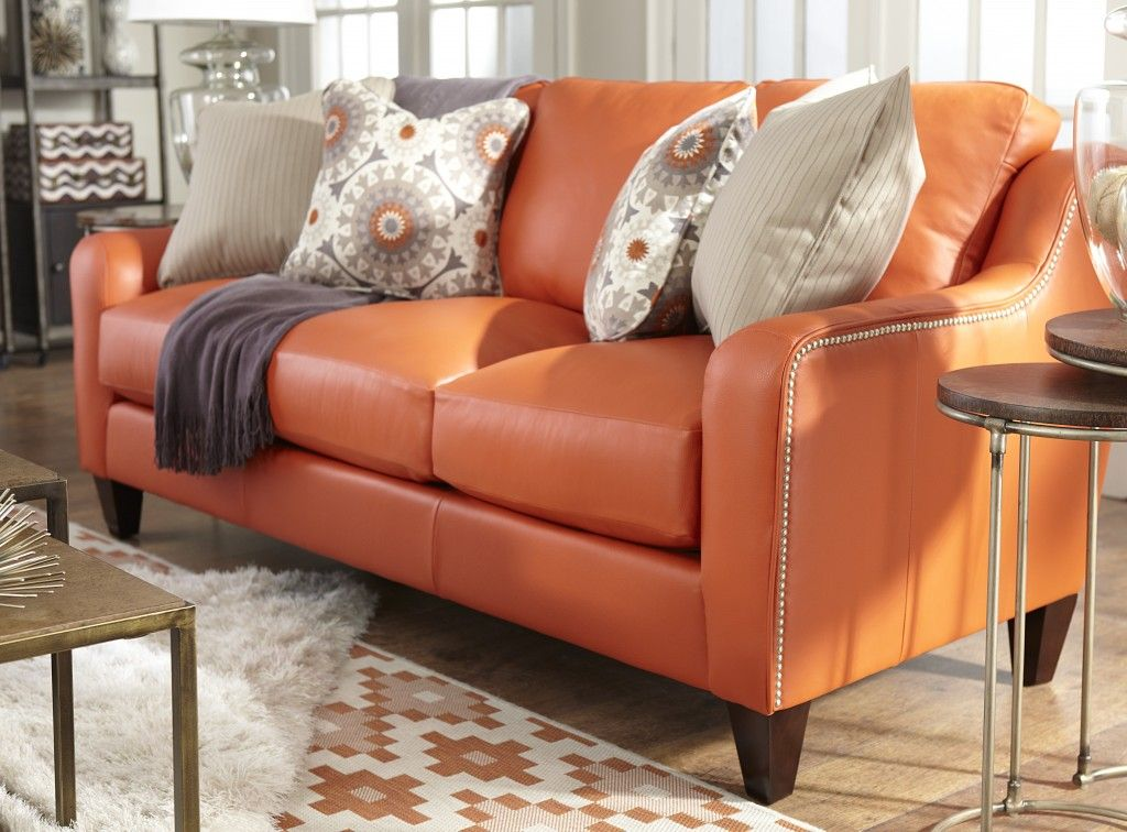 The Talbot Sofa By La Z Boy Living Room Orange Living Room Leather Lazy Boy Furniture